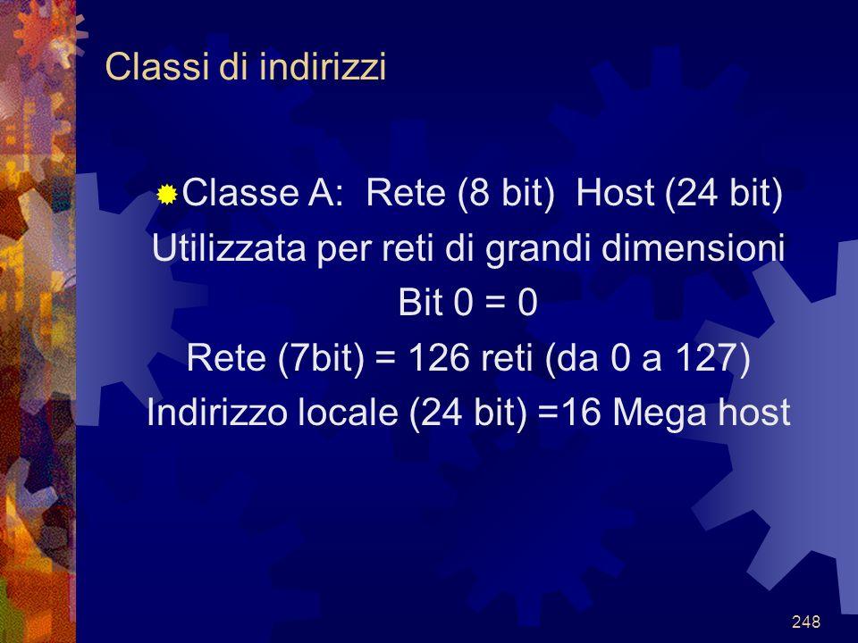 Classe A: Rete (8 bit) Host (24 bit)