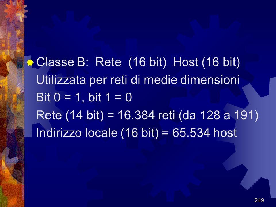 Classe B: Rete (16 bit) Host (16 bit)