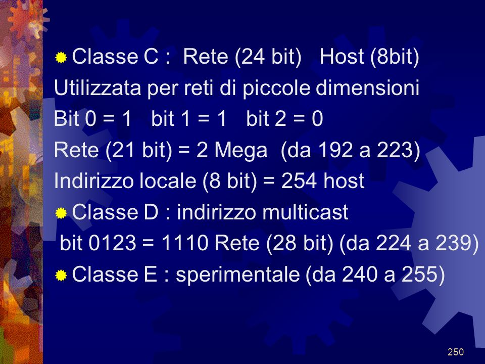 Classe C : Rete (24 bit) Host (8bit)