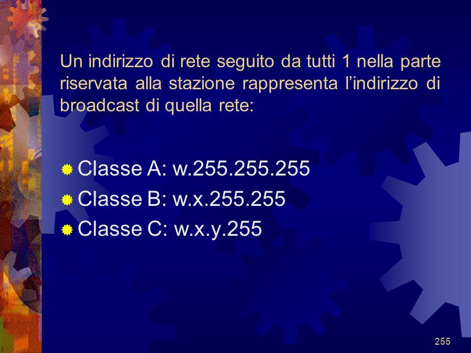 Classe A: w.255.255.255 Classe B: w.x.255.255 Classe C: w.x.y.255