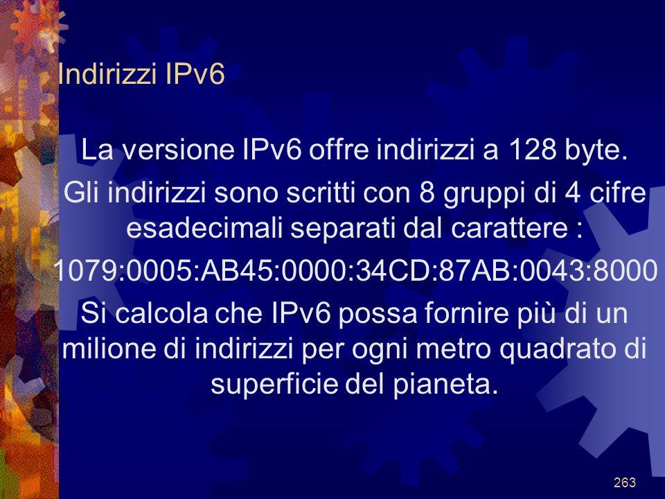La versione IPv6 offre indirizzi a 128 byte.