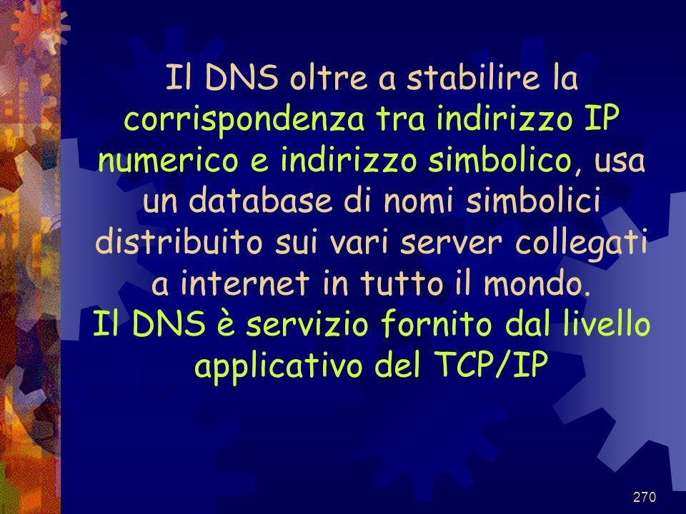 Il DNS oltre a stabilire la corrispondenza tra indirizzo IP numerico e indirizzo simbolico, usa un database di nomi simbolici distribuito sui vari server collegati a internet in tutto il mondo.