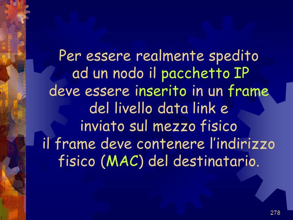 Per essere realmente spedito ad un nodo il pacchetto IP deve essere inserito in un frame del livello data link e inviato sul mezzo fisico il frame deve contenere l'indirizzo fisico (MAC) del destinatario.