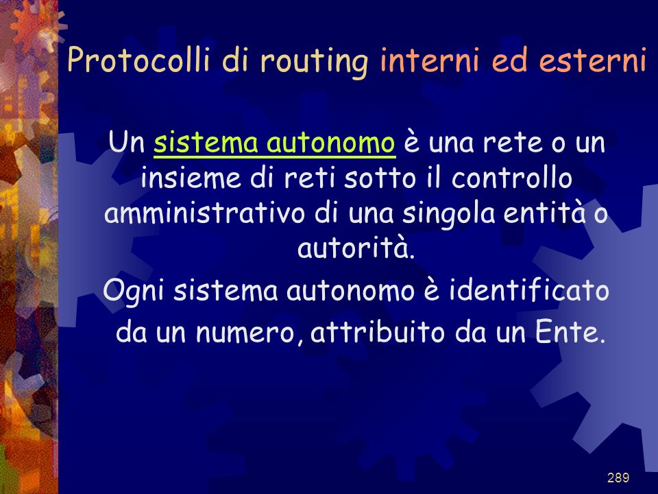 Protocolli di routing interni ed esterni