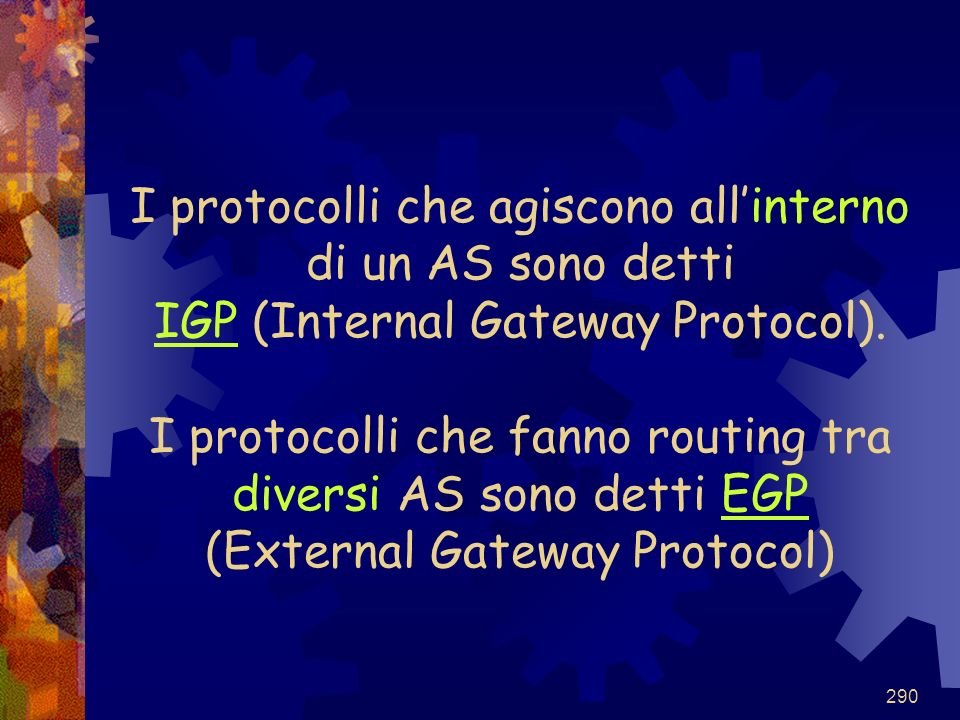 I protocolli che agiscono all'interno di un AS sono detti IGP (Internal Gateway Protocol).
