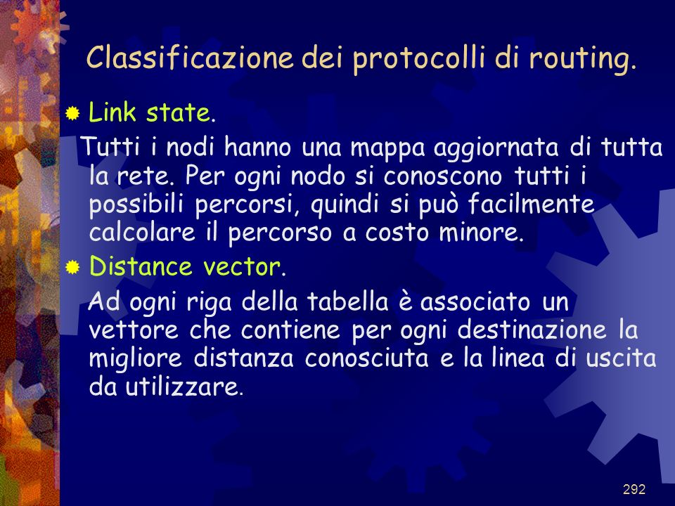 Classificazione dei protocolli di routing.