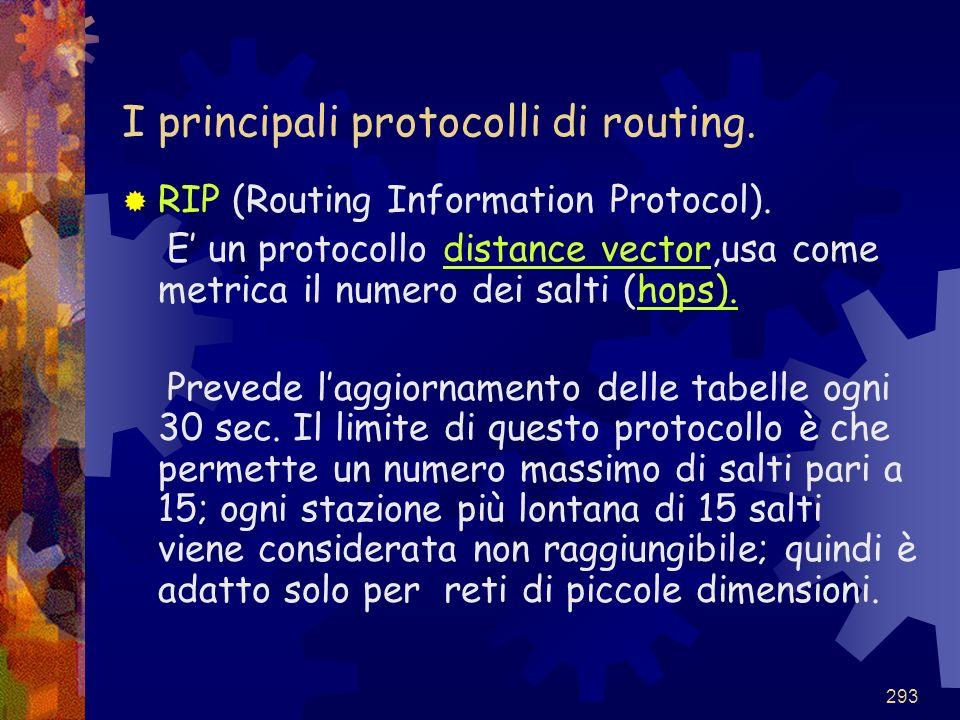 I principali protocolli di routing.