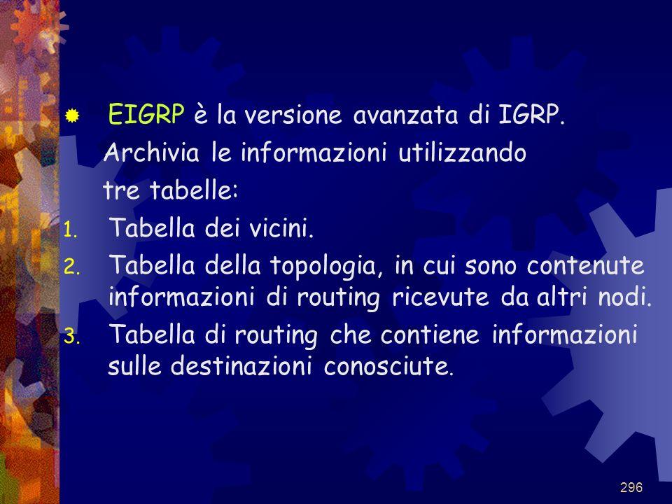 EIGRP è la versione avanzata di IGRP.