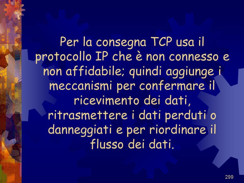 Per la consegna TCP usa il protocollo IP che è non connesso e non affidabile; quindi aggiunge i meccanismi per confermare il ricevimento dei dati, ritrasmettere i dati perduti o danneggiati e per riordinare il flusso dei dati.