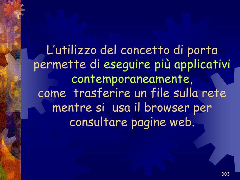 L'utilizzo del concetto di porta permette di eseguire più applicativi contemporaneamente, come trasferire un file sulla rete mentre si usa il browser per consultare pagine web.