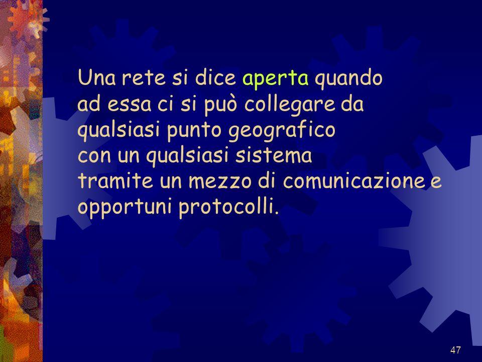 Una rete si dice aperta quando ad essa ci si può collegare da qualsiasi punto geografico con un qualsiasi sistema tramite un mezzo di comunicazione e opportuni protocolli.