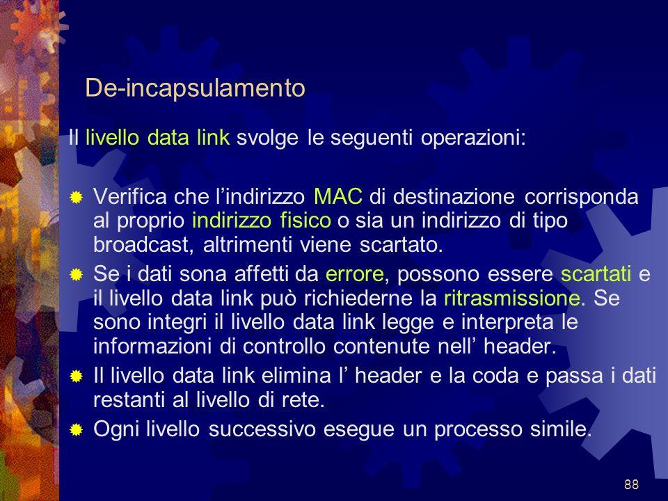 De-incapsulamento Il livello data link svolge le seguenti operazioni: