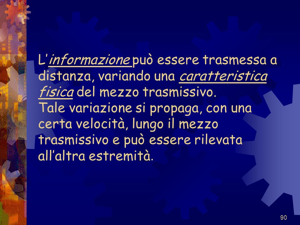 L'informazione può essere trasmessa a distanza, variando una caratteristica fisica del mezzo trasmissivo.