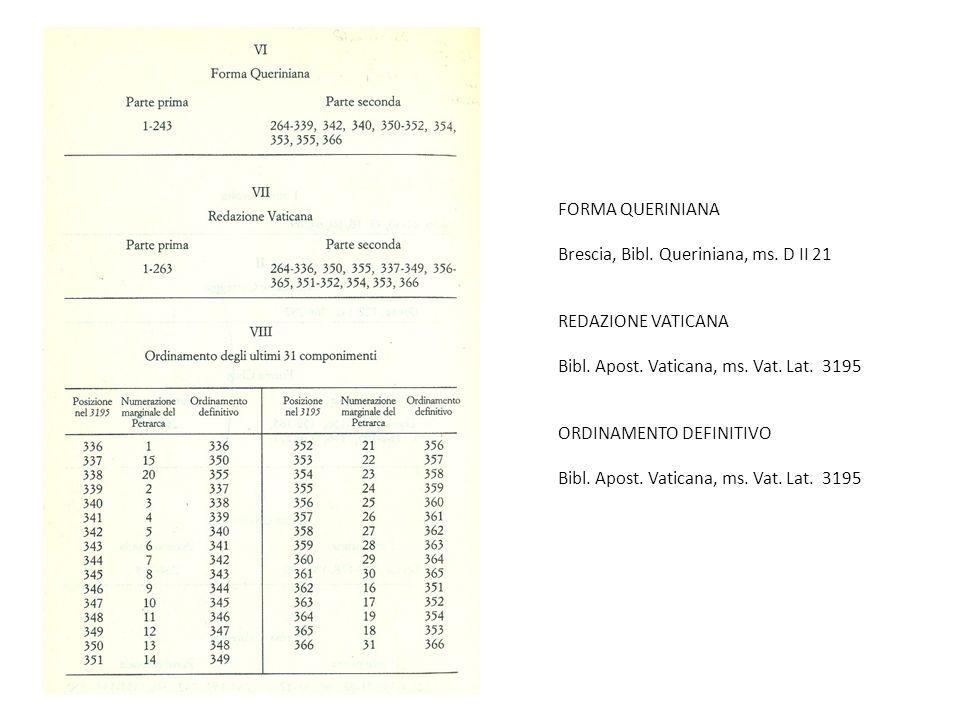 FORMA QUERINIANA Brescia, Bibl. Queriniana, ms. D II 21. REDAZIONE VATICANA. Bibl. Apost. Vaticana, ms. Vat. Lat. 3195.