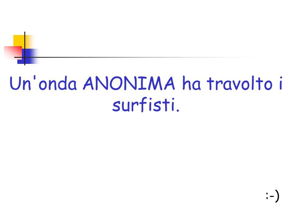 Un onda ANONIMA ha travolto i surfisti.