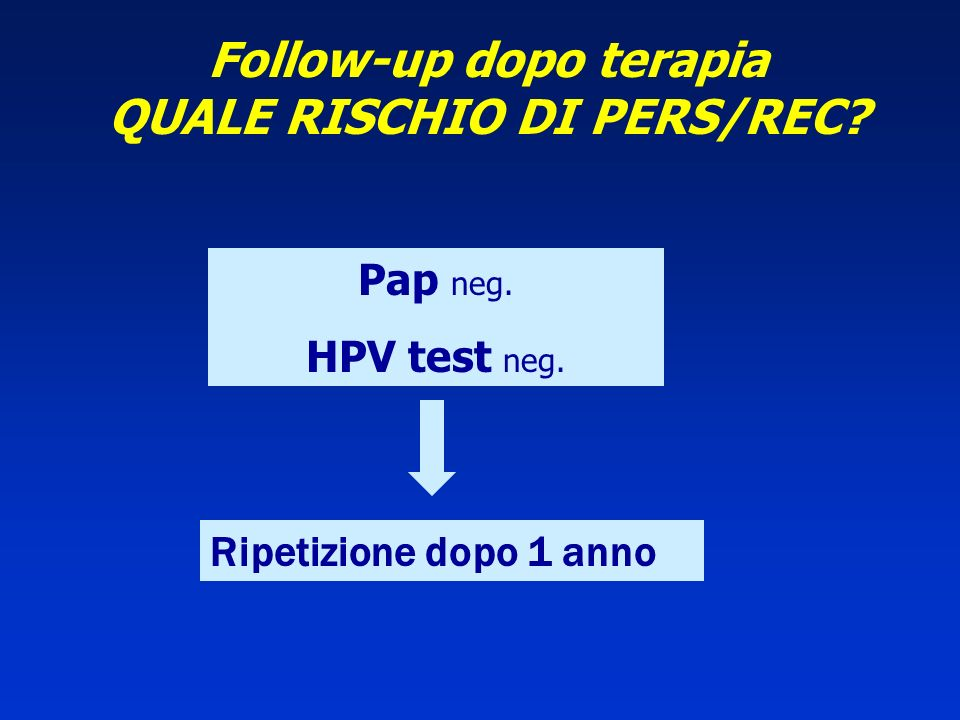 Follow-up dopo terapia QUALE RISCHIO DI PERS/REC