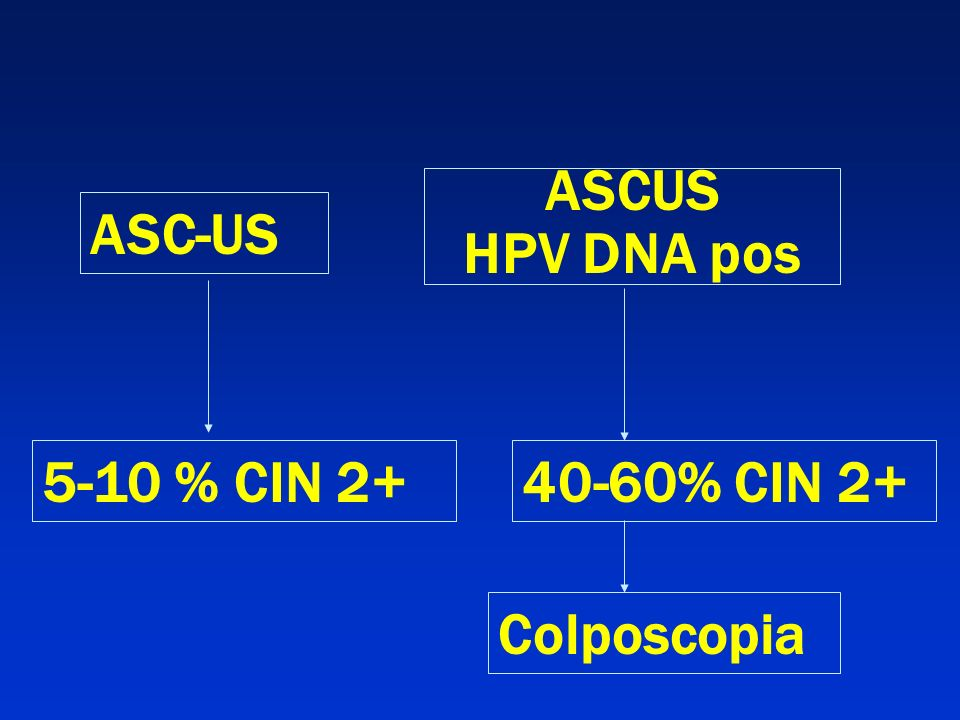 ASCUS HPV DNA pos ASC-US 5-10 % CIN 2+ 40-60% CIN 2+ Colposcopia