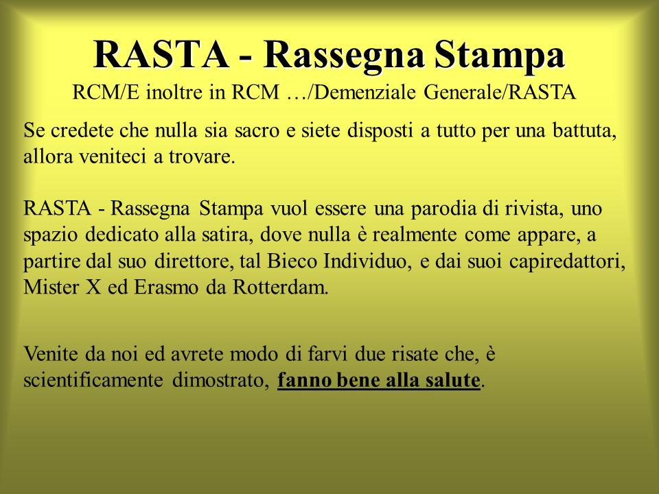 RASTA - Rassegna Stampa