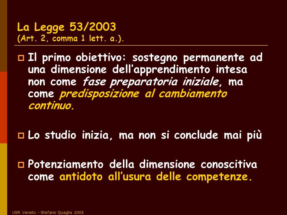 La Legge 53/2003 (Art. 2, comma 1 lett. a.).