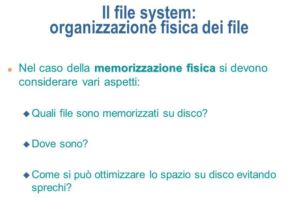 Il file system: organizzazione fisica dei file