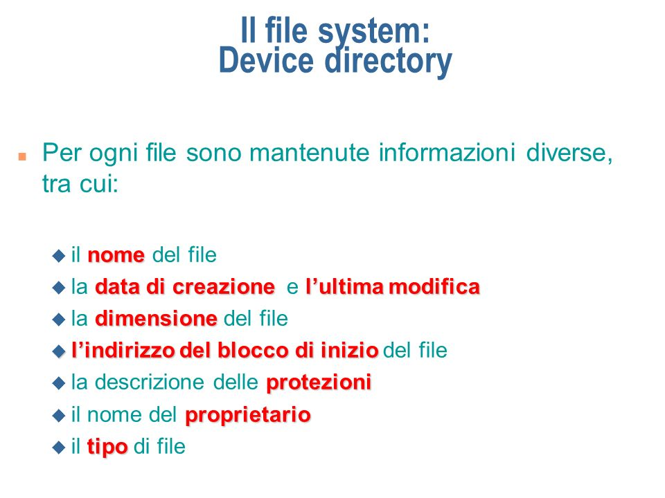 Il file system: Device directory