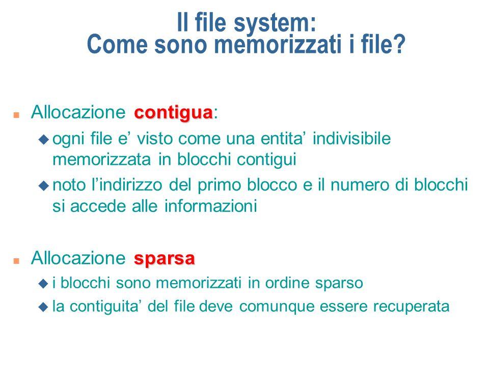 Il file system: Come sono memorizzati i file