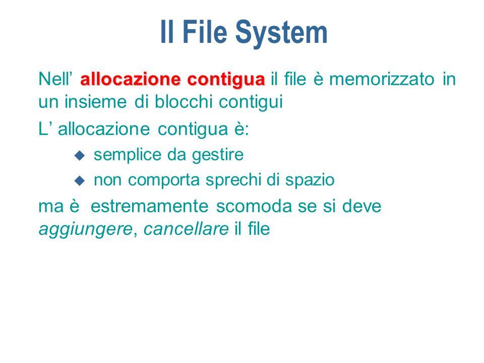 Il File System Nell' allocazione contigua il file è memorizzato in un insieme di blocchi contigui. L' allocazione contigua è: