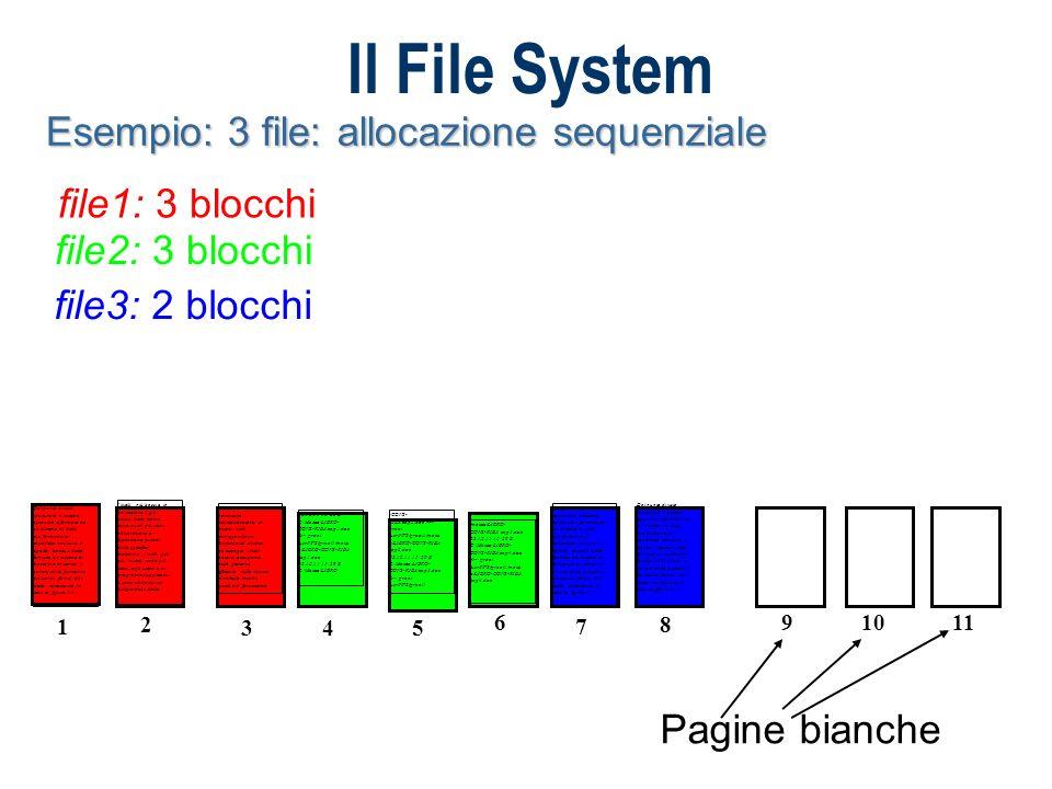 Il File System Esempio: 3 file: allocazione sequenziale