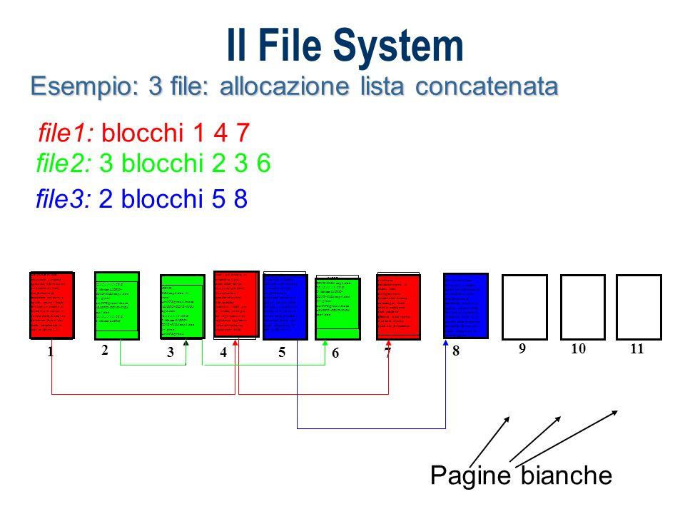 Il File System Esempio: 3 file: allocazione lista concatenata