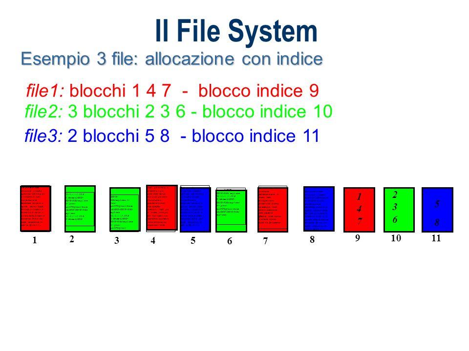 Il File System Esempio 3 file: allocazione con indice