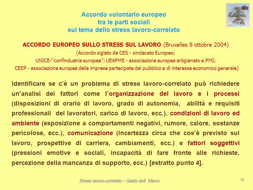 Accordo volontario europeo sul tema dello stress lavoro-correlato