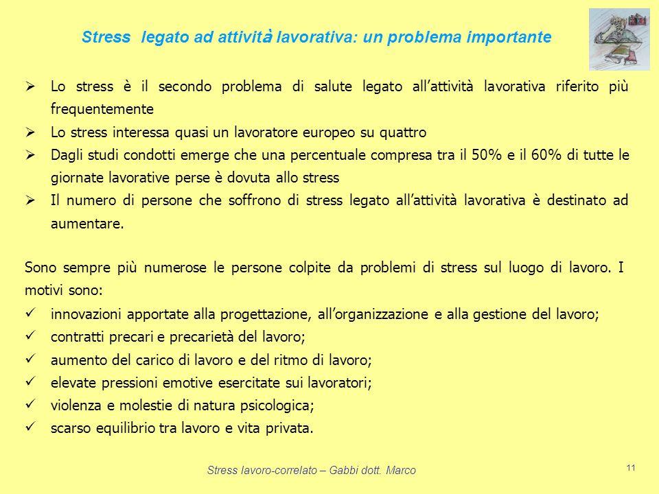 Stress legato ad attività lavorativa: un problema importante