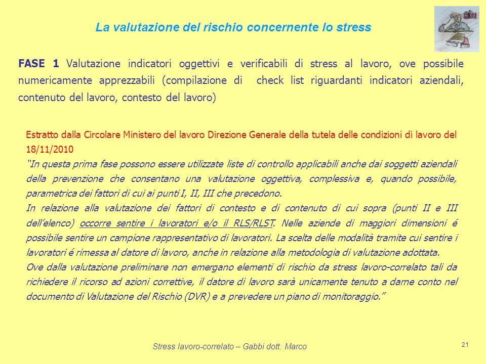 La valutazione del rischio concernente lo stress