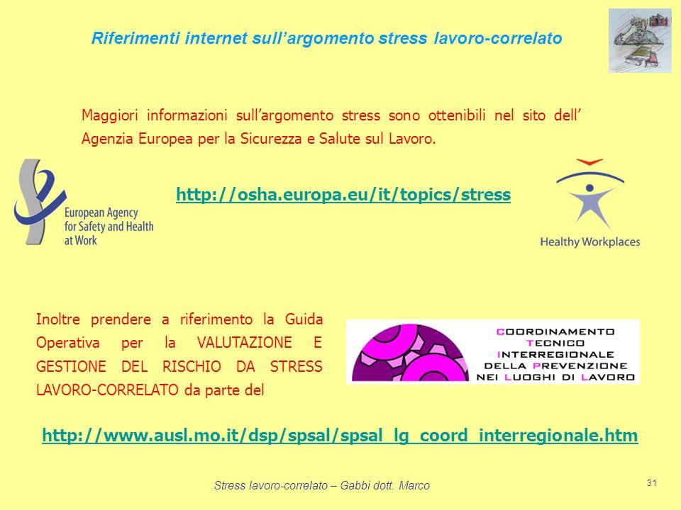 Riferimenti internet sull'argomento stress lavoro-correlato