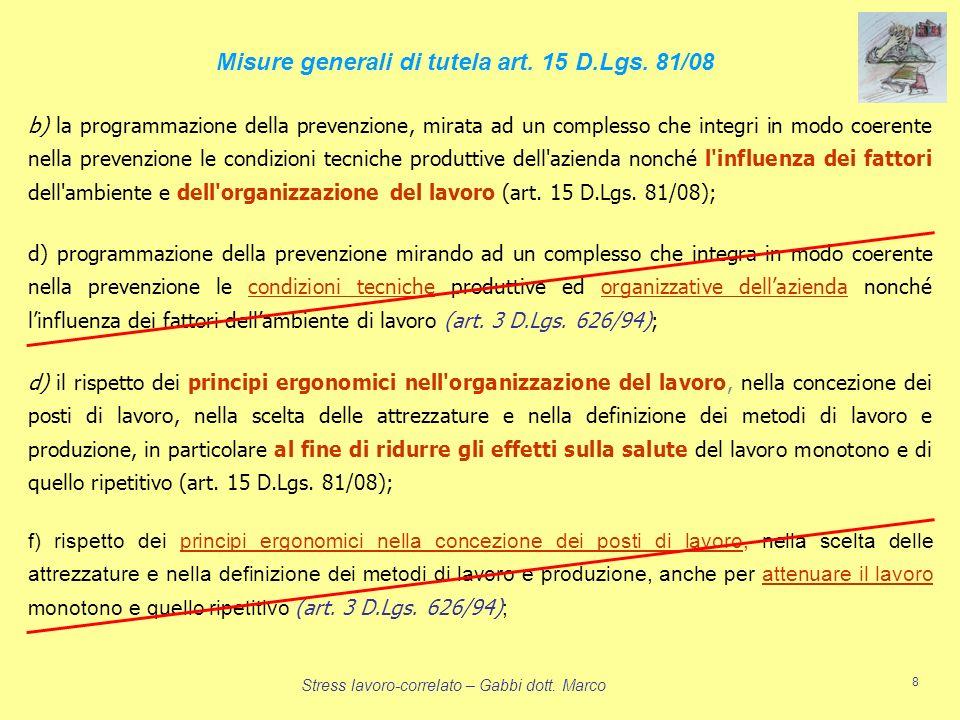 Misure generali di tutela art. 15 D.Lgs. 81/08