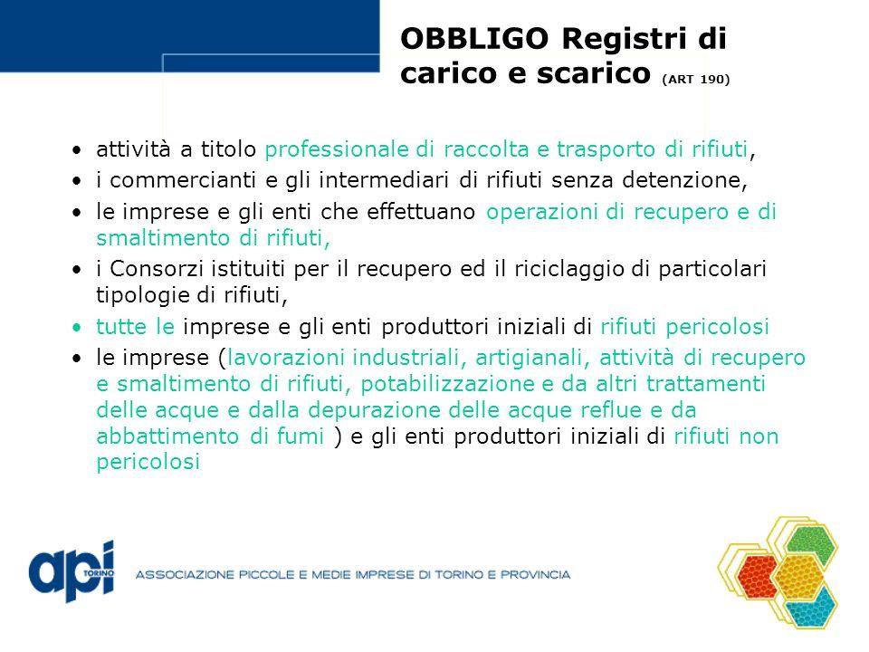 OBBLIGO Registri di carico e scarico (ART 190)