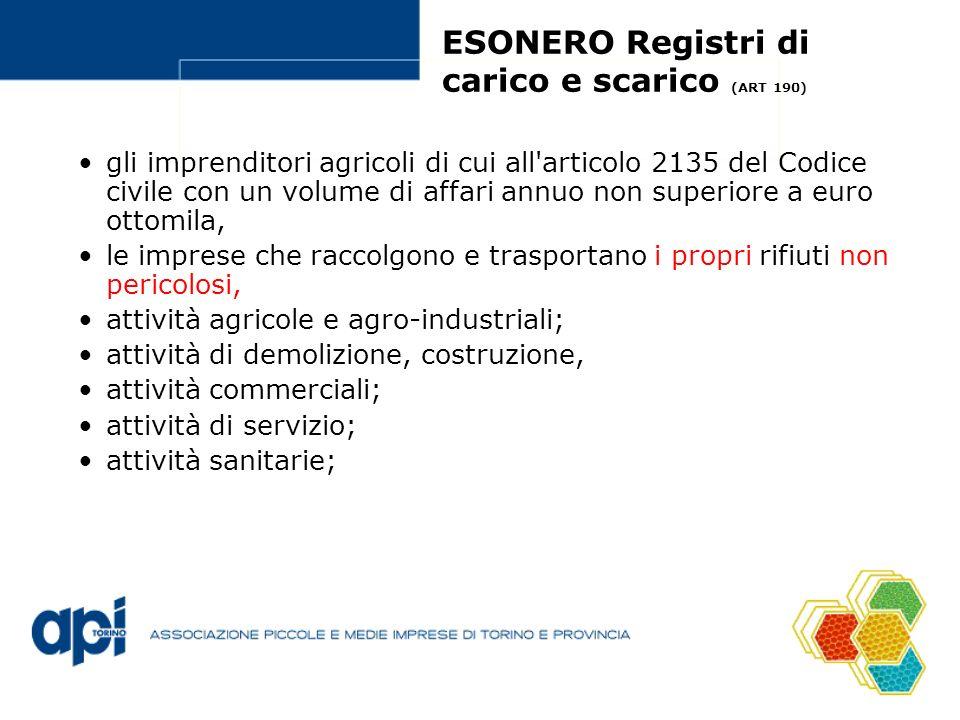 ESONERO Registri di carico e scarico (ART 190)
