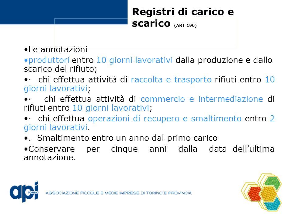 Registri di carico e scarico (ART 190)