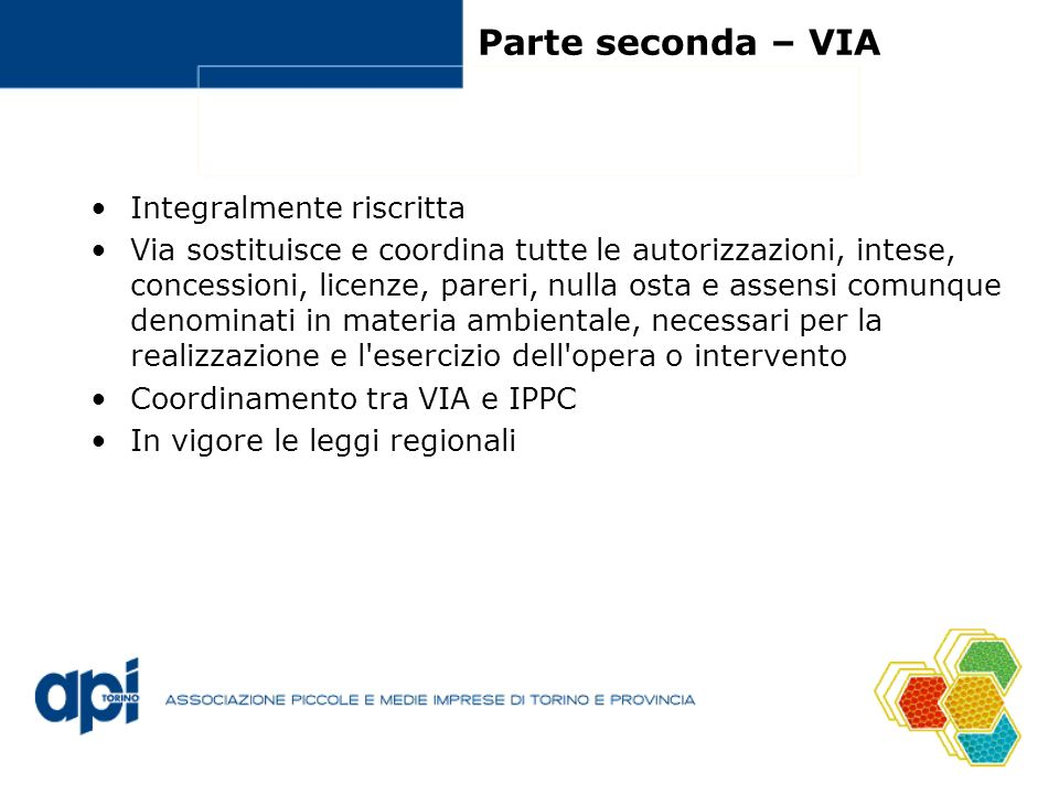 Parte seconda – VIA Integralmente riscritta