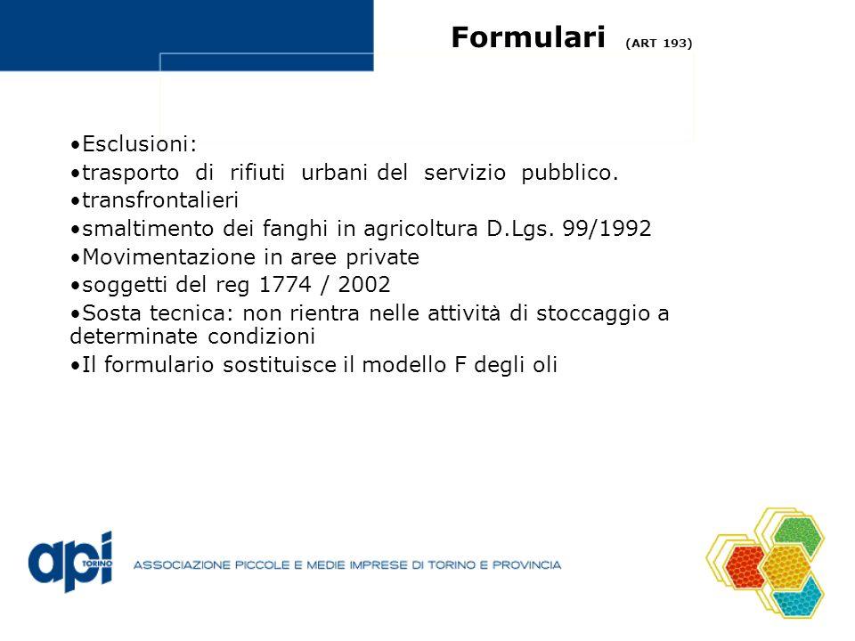Formulari (ART 193) Esclusioni: