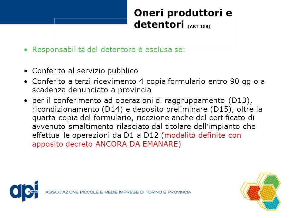 Oneri produttori e detentori (ART 188)