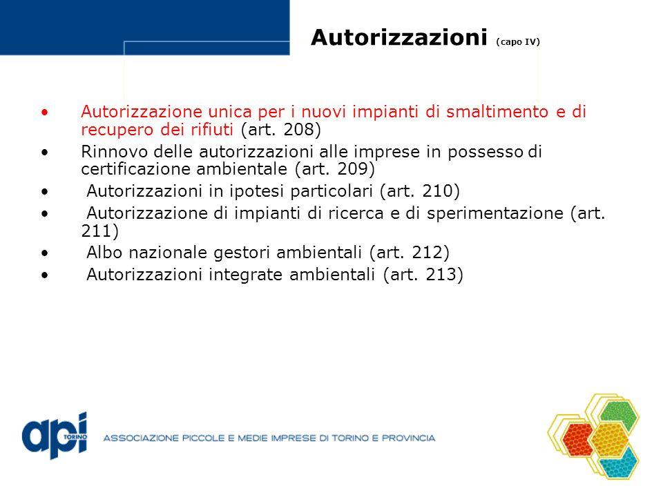 Autorizzazioni (capo IV)