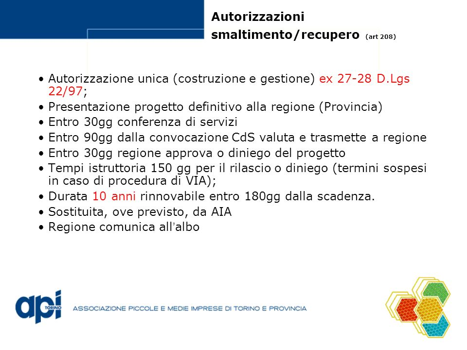 Autorizzazioni smaltimento/recupero (art 208)