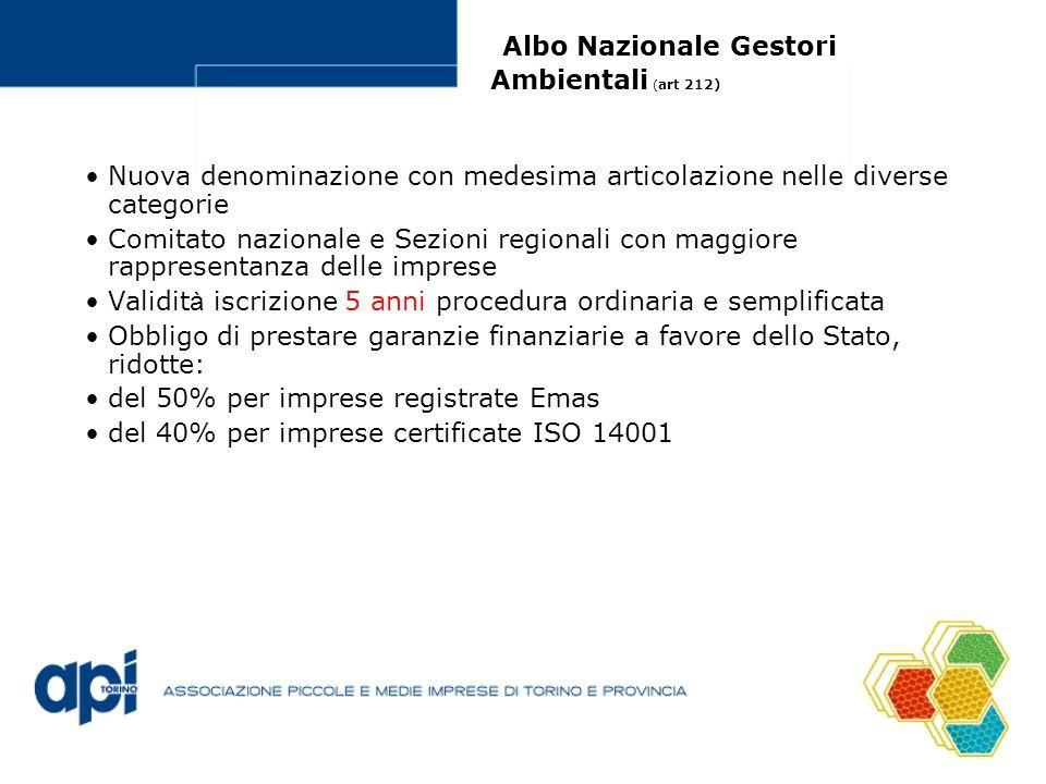 Albo Nazionale Gestori Ambientali (art 212)