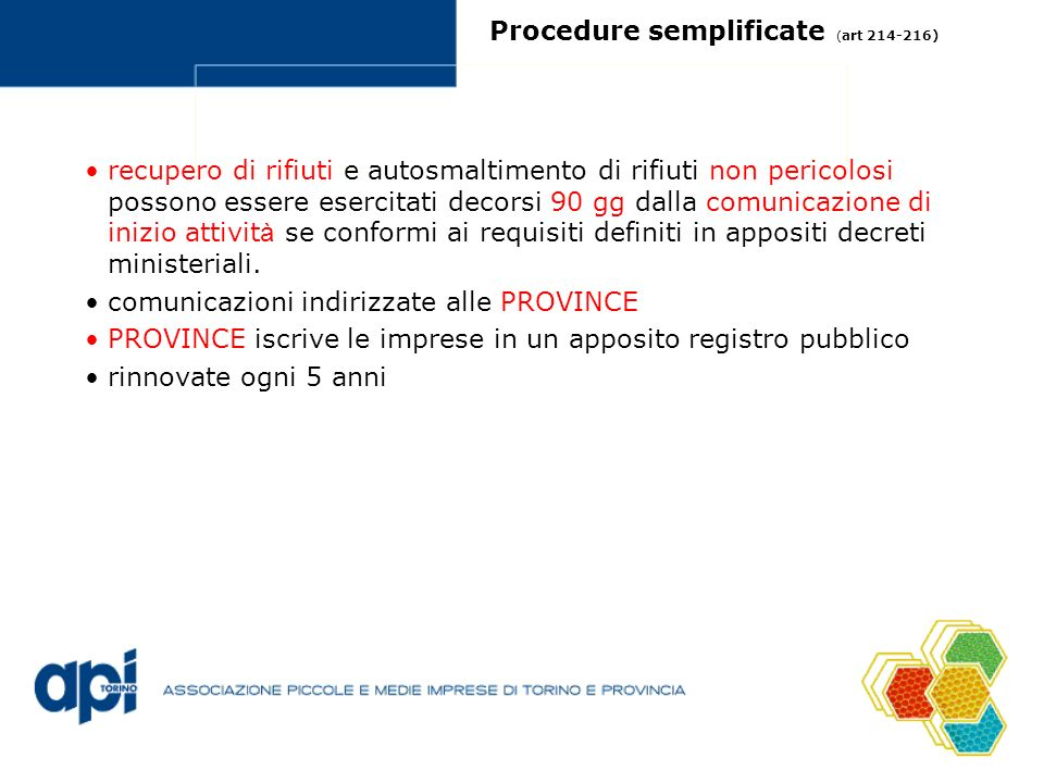 Procedure semplificate (art 214-216)