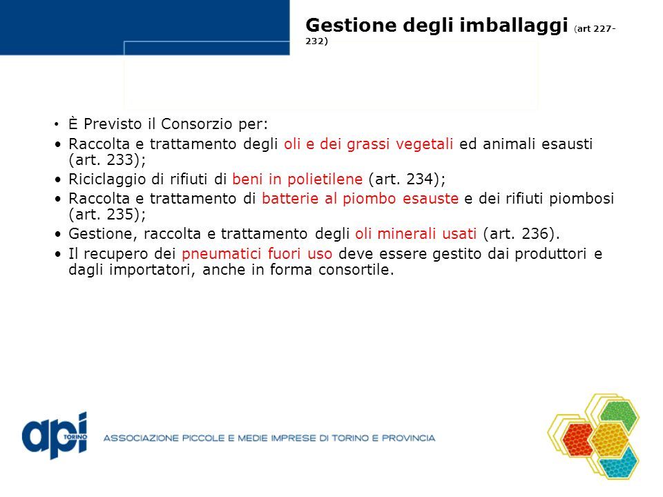 Gestione degli imballaggi (art 227-232)
