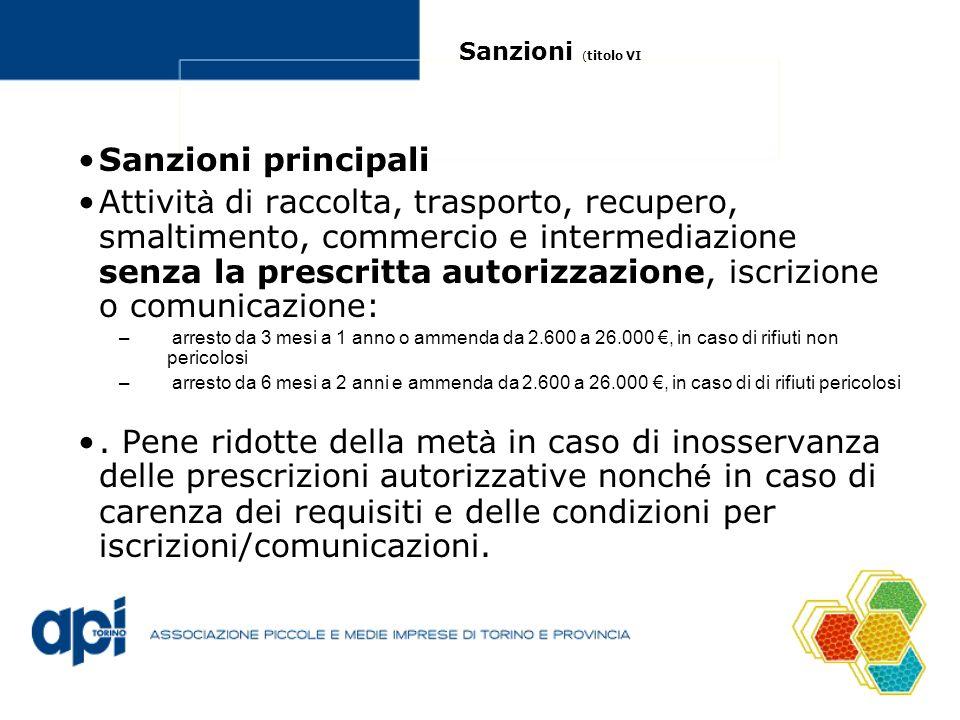 Sanzioni (titolo VI Sanzioni principali.