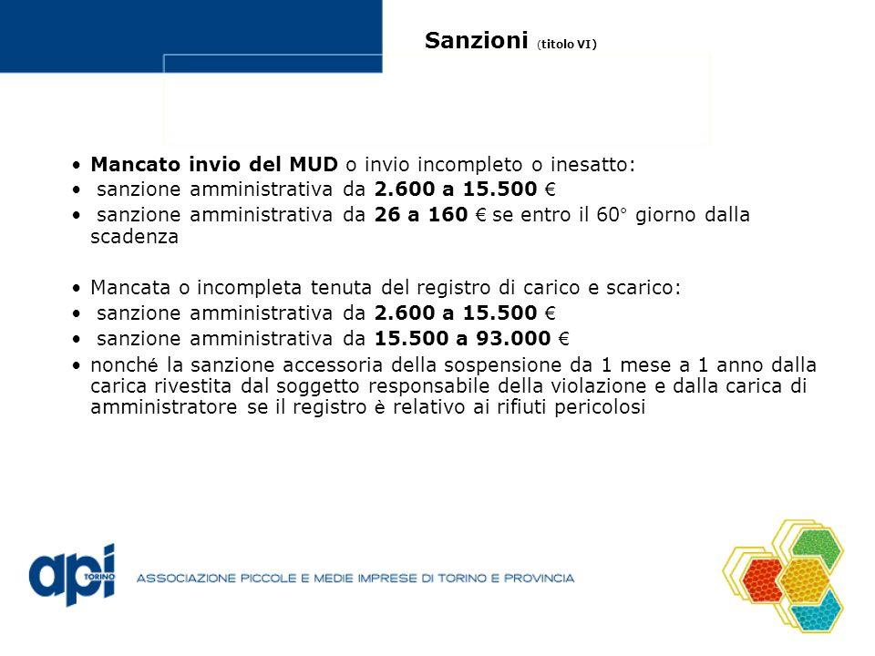 Sanzioni (titolo VI) Mancato invio del MUD o invio incompleto o inesatto: sanzione amministrativa da 2.600 a 15.500 €