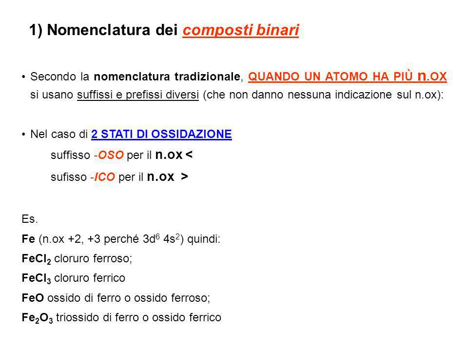 1) Nomenclatura dei composti binari