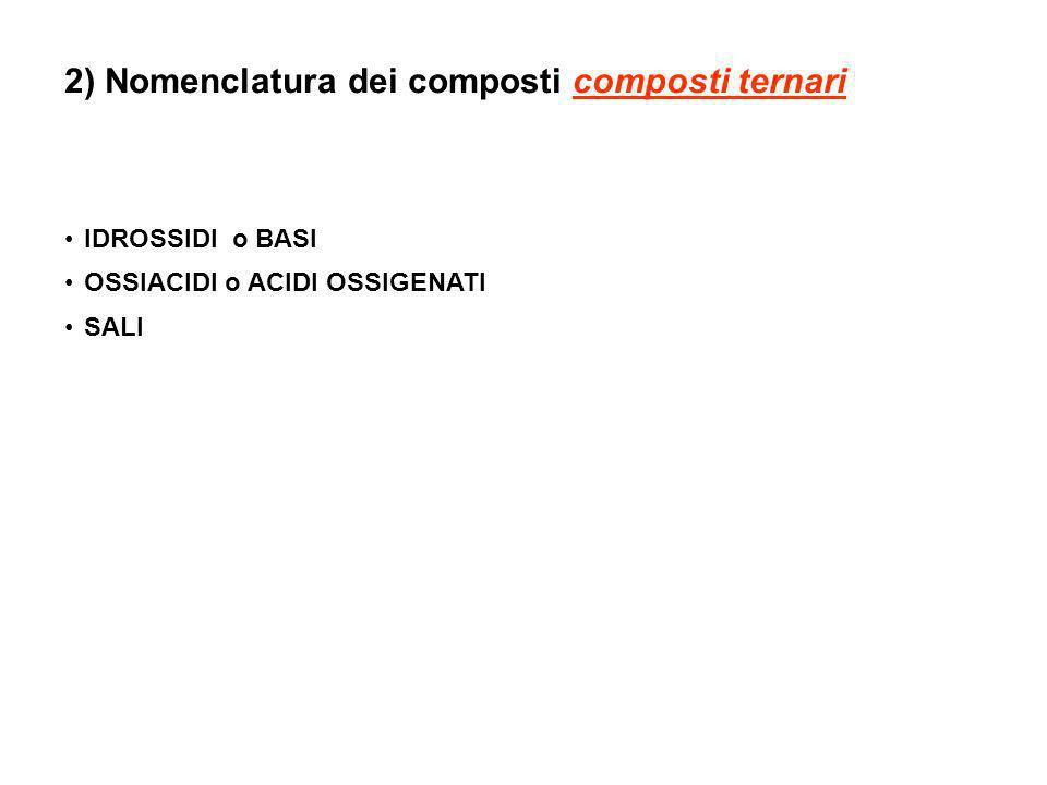 2) Nomenclatura dei composti composti ternari